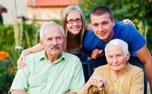 family with elderly grandmother